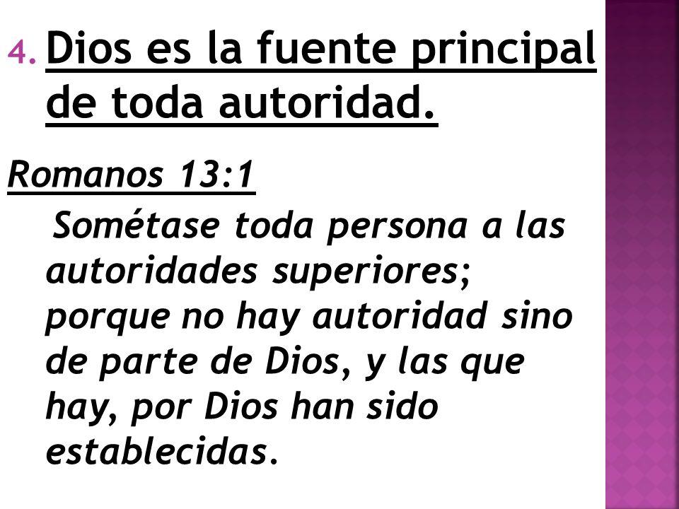 Dios es la fuente principal de toda autoridad.