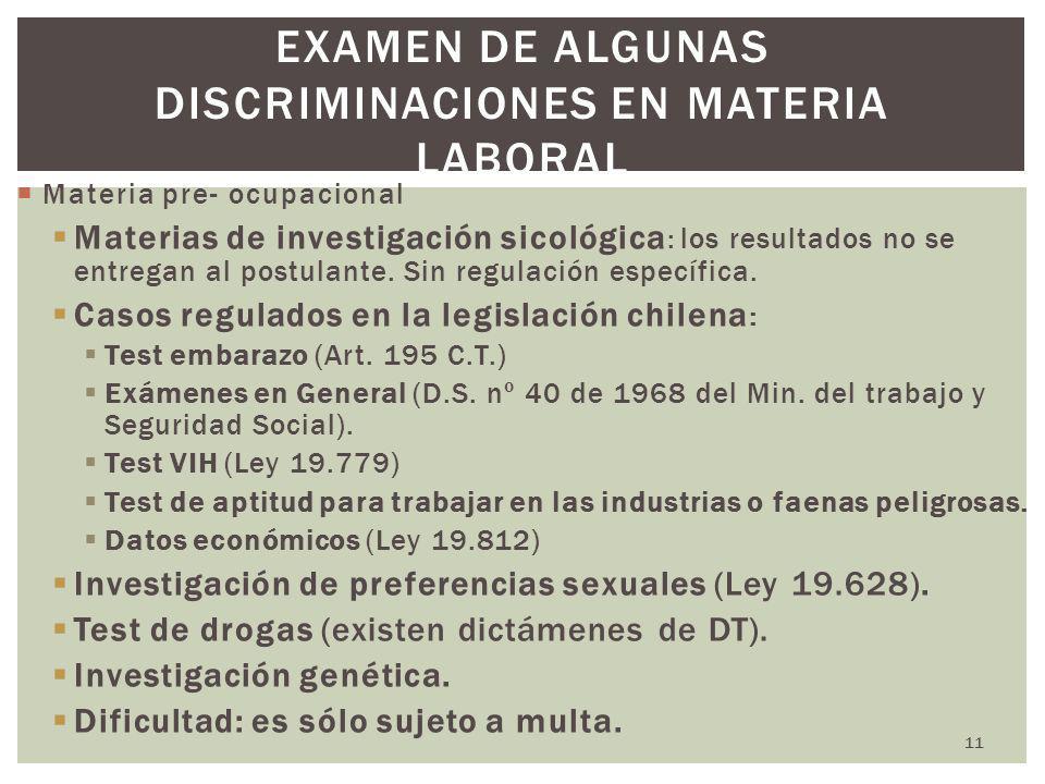 Examen de algunas discriminaciones en materia laboral