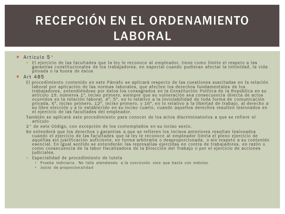 Recepción en el ordenamiento laboral