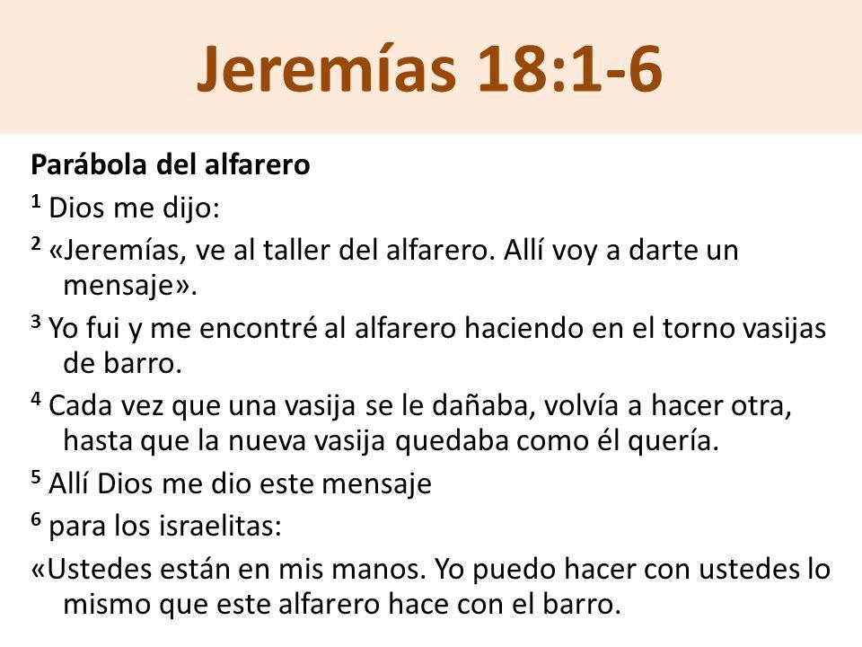 Jeremías 18:1-6 Parábola del alfarero 1 Dios me dijo: