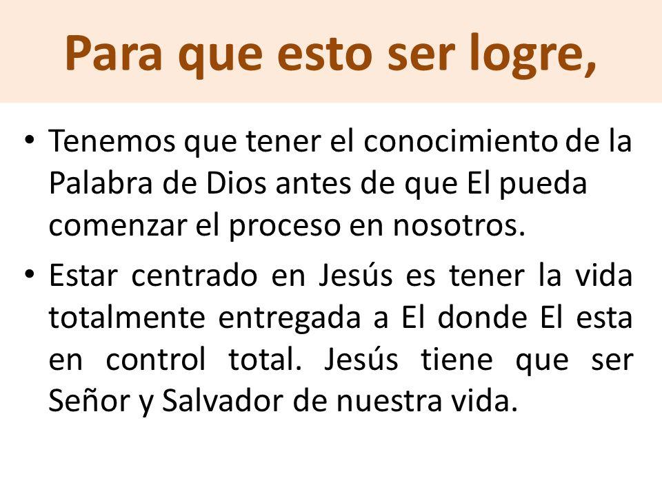 Para que esto ser logre, Tenemos que tener el conocimiento de la Palabra de Dios antes de que El pueda comenzar el proceso en nosotros.