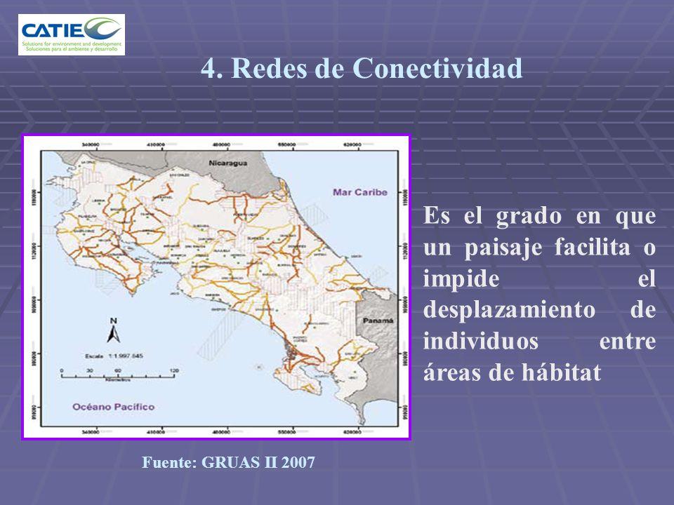 4. Redes de Conectividad Es el grado en que un paisaje facilita o impide el desplazamiento de individuos entre áreas de hábitat.