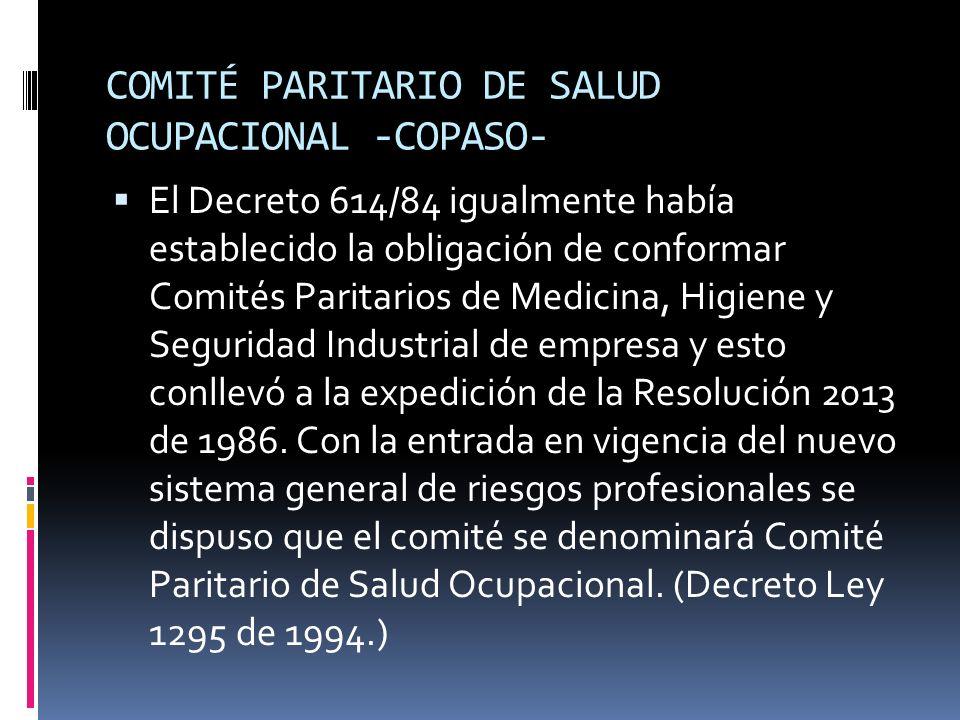 COMITÉ PARITARIO DE SALUD OCUPACIONAL -COPASO-