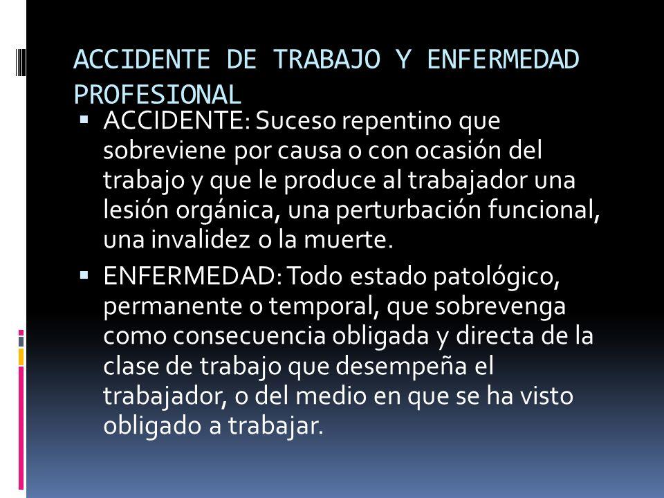 ACCIDENTE DE TRABAJO Y ENFERMEDAD PROFESIONAL