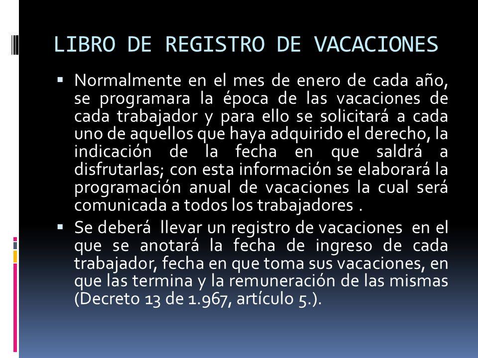 LIBRO DE REGISTRO DE VACACIONES