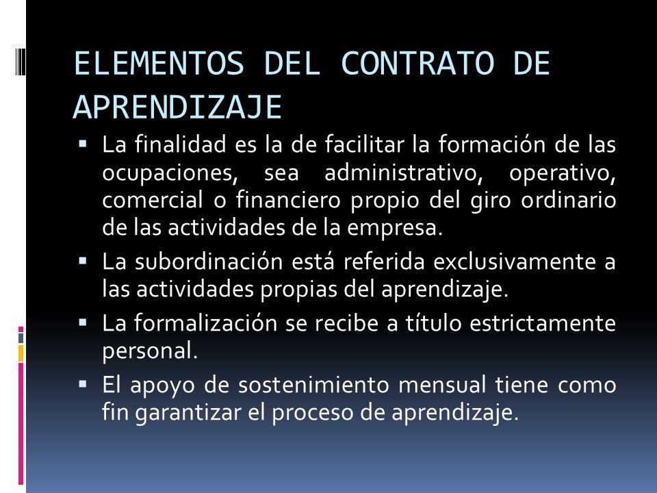 ELEMENTOS DEL CONTRATO DE APRENDIZAJE