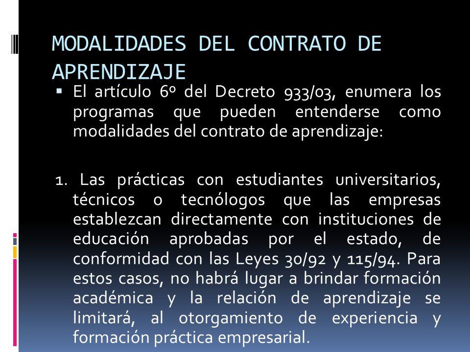 MODALIDADES DEL CONTRATO DE APRENDIZAJE