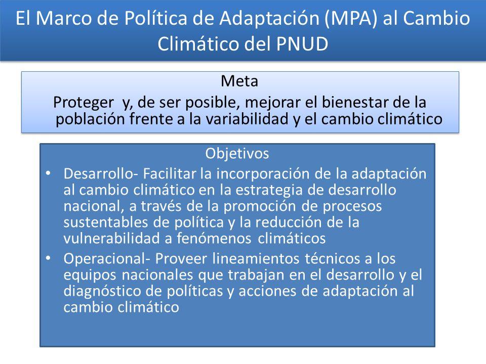 El Marco de Política de Adaptación (MPA) al Cambio Climático del PNUD
