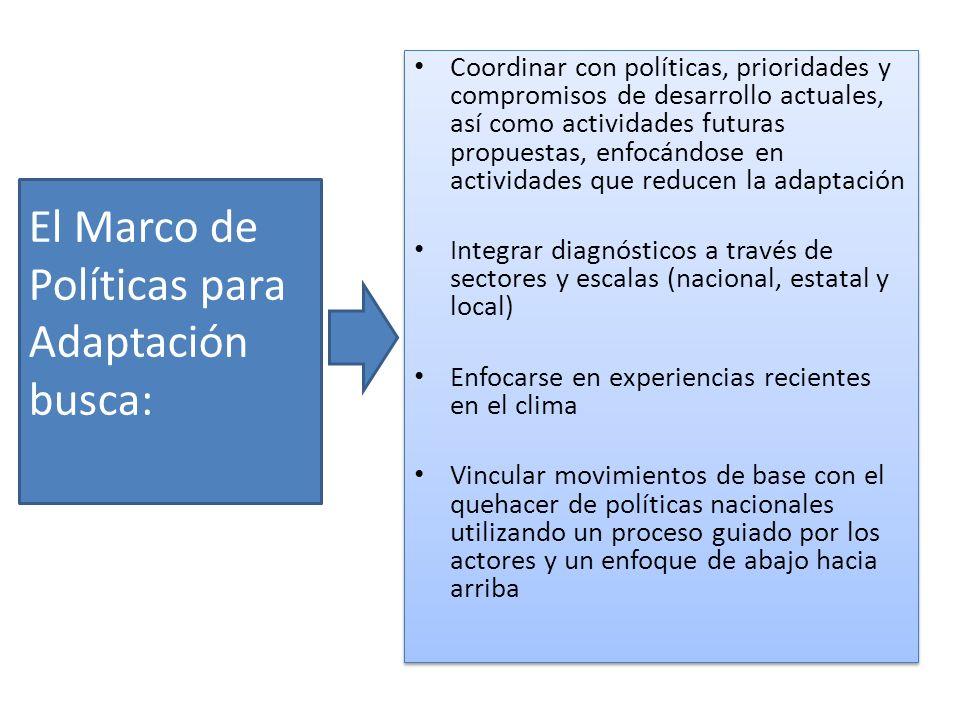 El Marco de Políticas para Adaptación busca: