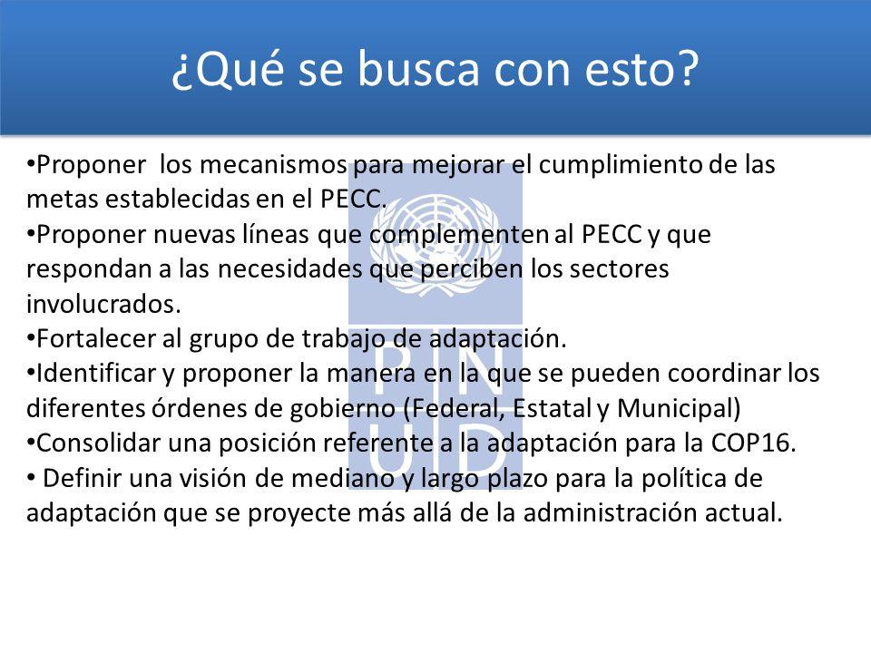 ¿Qué se busca con esto Proponer los mecanismos para mejorar el cumplimiento de las metas establecidas en el PECC.