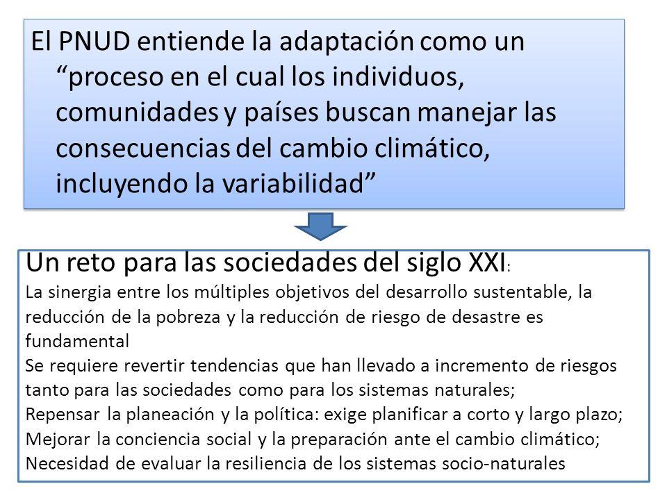 El PNUD entiende la adaptación como un proceso en el cual los individuos, comunidades y países buscan manejar las consecuencias del cambio climático, incluyendo la variabilidad