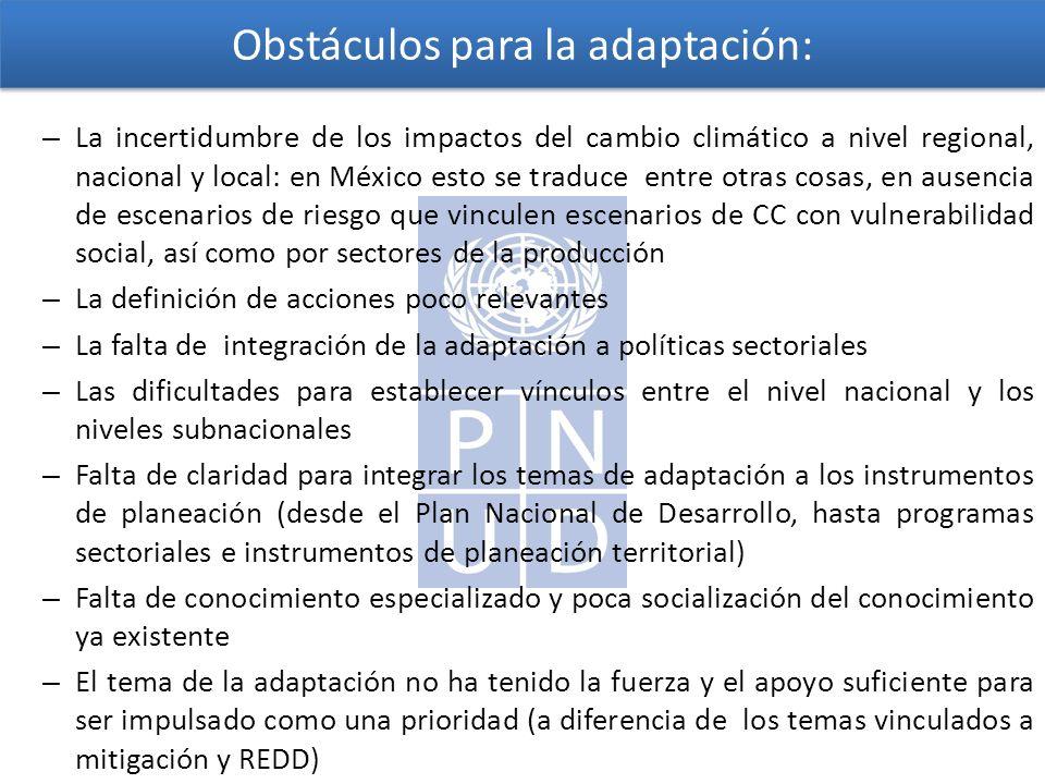 Obstáculos para la adaptación: