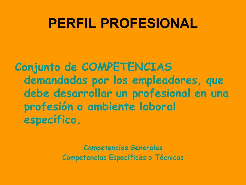Competencias Generales Competencias Específicas o Técnicas