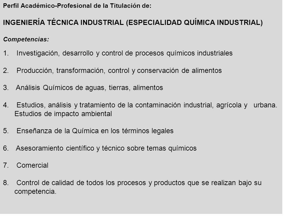 INGENIERÍA TÉCNICA INDUSTRIAL (ESPECIALIDAD QUÍMICA INDUSTRIAL)