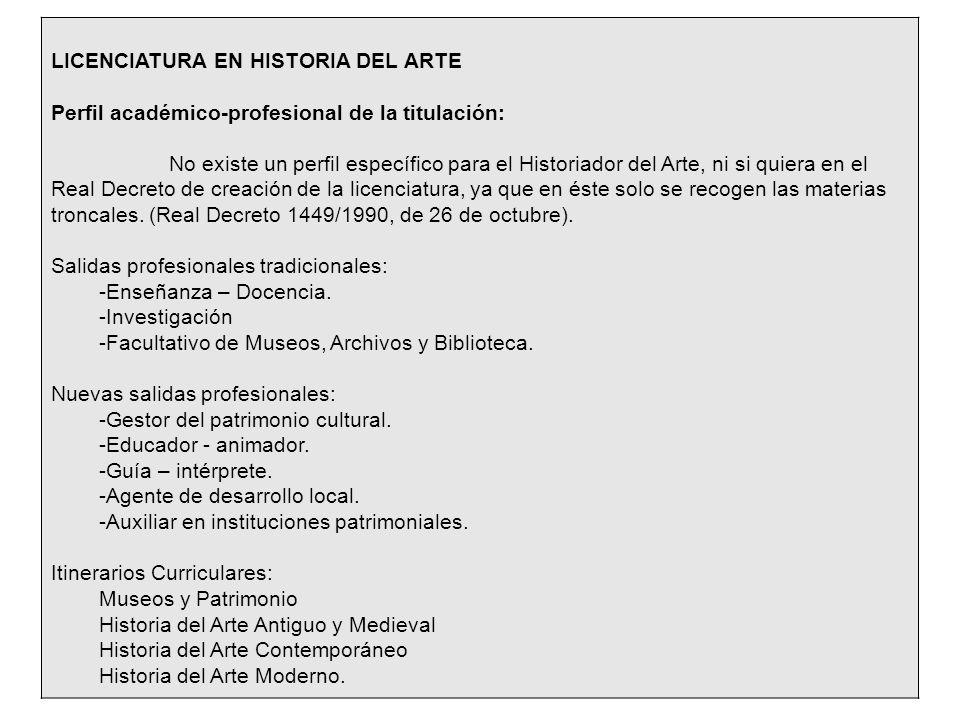 LICENCIATURA EN HISTORIA DEL ARTE