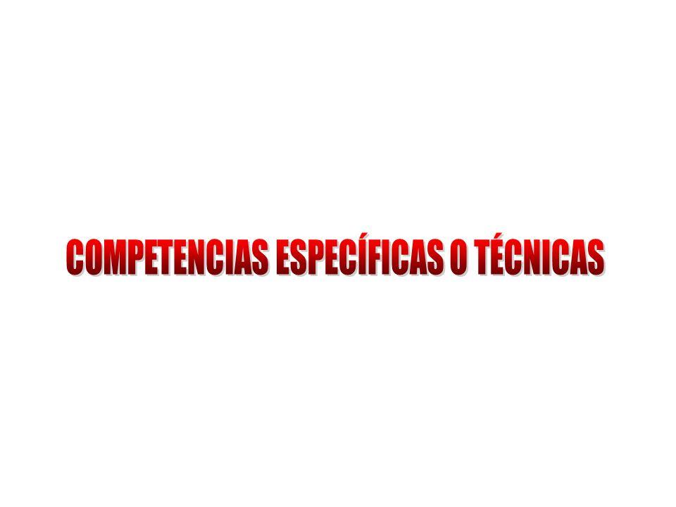 COMPETENCIAS ESPECÍFICAS O TÉCNICAS