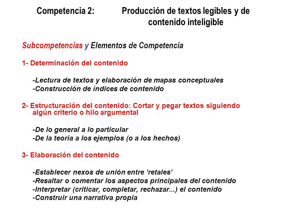 Competencia 2:. Producción de textos legibles y de