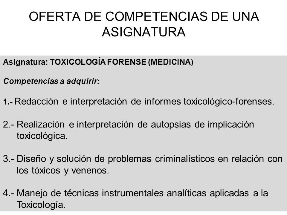 OFERTA DE COMPETENCIAS DE UNA ASIGNATURA