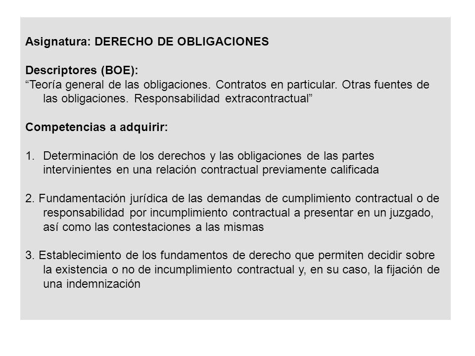 Asignatura: DERECHO DE OBLIGACIONES