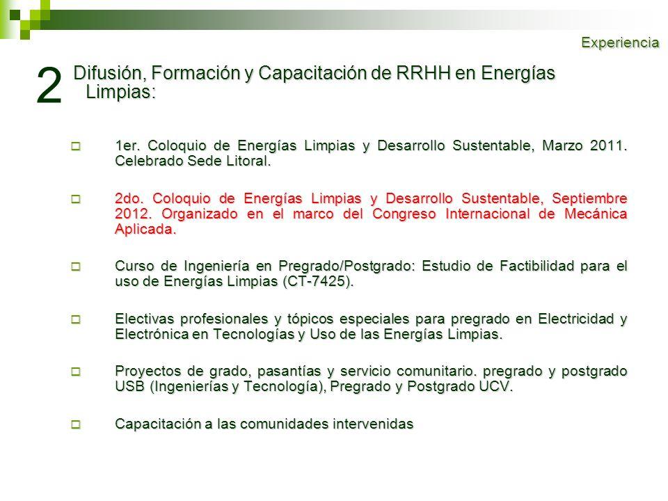 Experiencia 2. Difusión, Formación y Capacitación de RRHH en Energías Limpias: