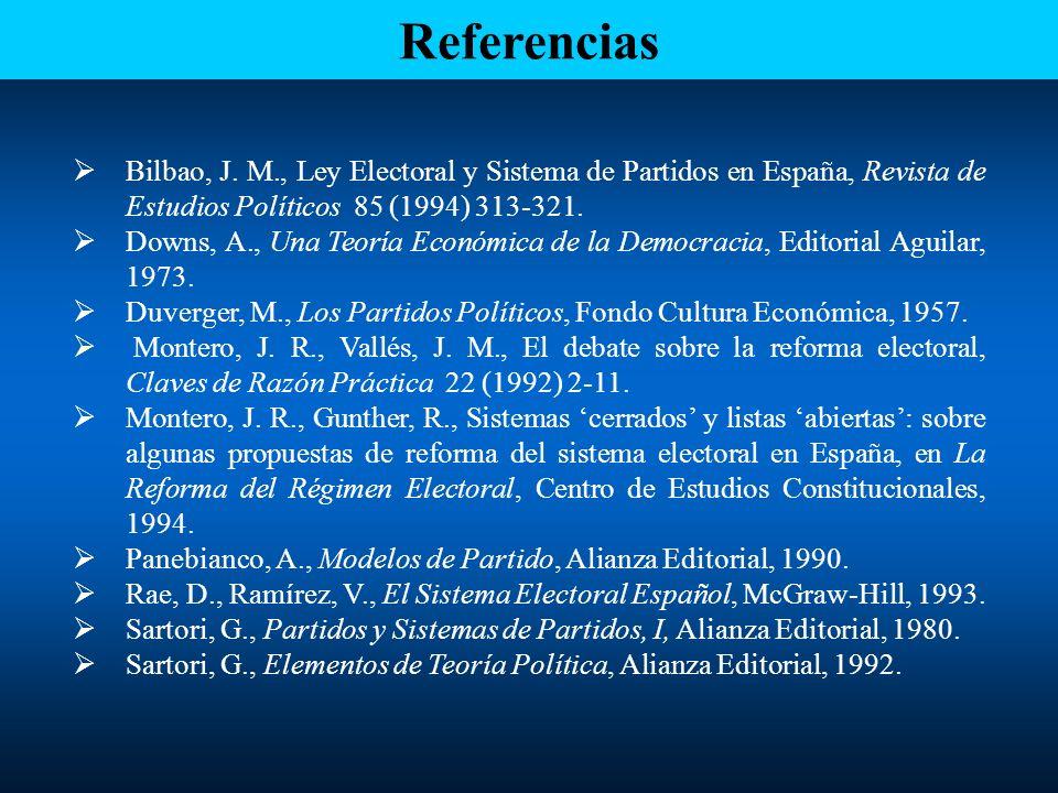 Referencias Bilbao, J. M., Ley Electoral y Sistema de Partidos en España, Revista de Estudios Políticos 85 (1994) 313-321.