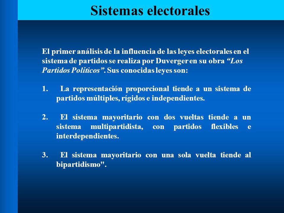 Sistemas electorales El primer análisis de la influencia de las leyes electorales en el. sistema de partidos se realiza por Duverger en su obra Los.