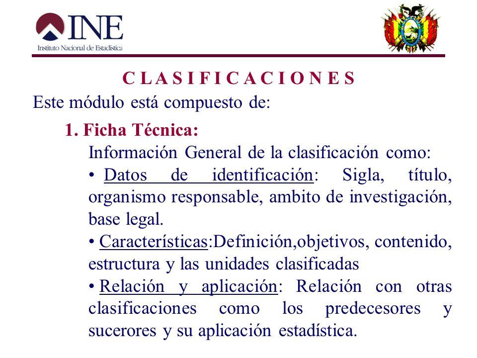 C L A S I F I C A C I O N E S Este módulo está compuesto de: 1. Ficha Técnica: Información General de la clasificación como: