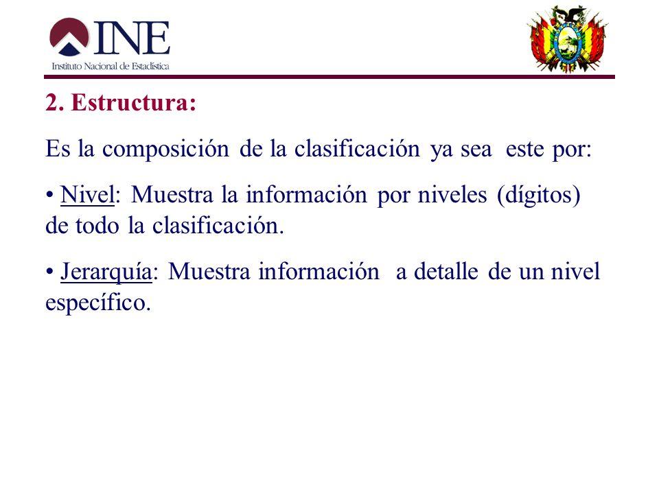 2. Estructura: Es la composición de la clasificación ya sea este por: Nivel: Muestra la información por niveles (dígitos) de todo la clasificación.