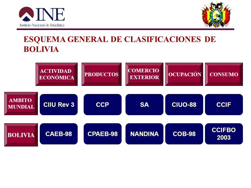 ESQUEMA GENERAL DE CLASIFICACIONES DE BOLIVIA