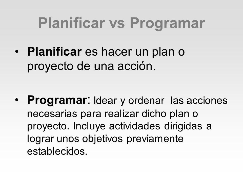 Planificar vs Programar