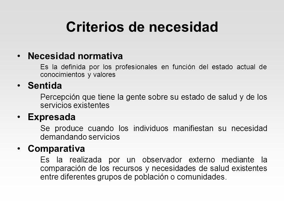 Criterios de necesidad