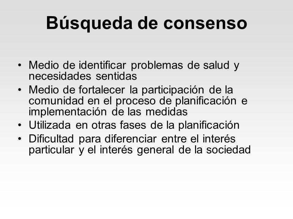 Búsqueda de consensoMedio de identificar problemas de salud y necesidades sentidas.