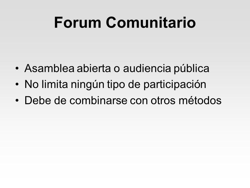 Forum Comunitario Asamblea abierta o audiencia pública