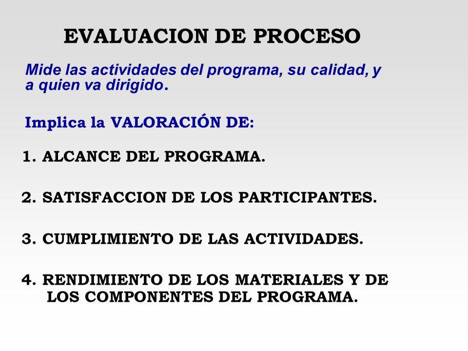 EVALUACION DE PROCESO Mide las actividades del programa, su calidad, y a quien va dirigido. Implica la VALORACIÓN DE:
