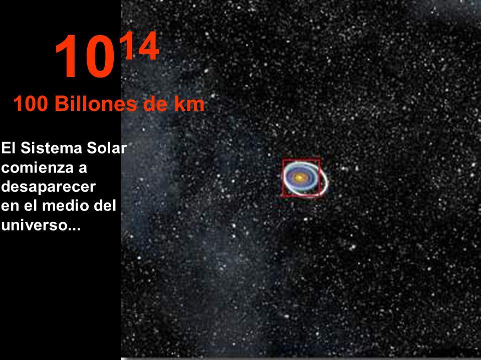 1014 100 Billones de km El Sistema Solar comienza a desaparecer en el medio del universo...