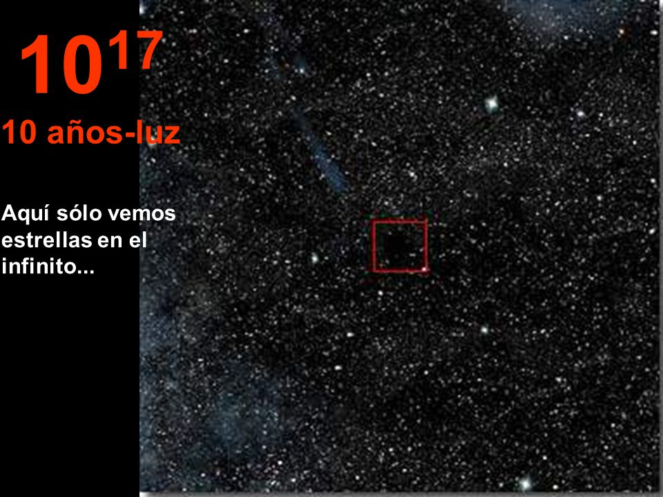 1017 10 años-luz Aquí sólo vemos estrellas en el infinito...