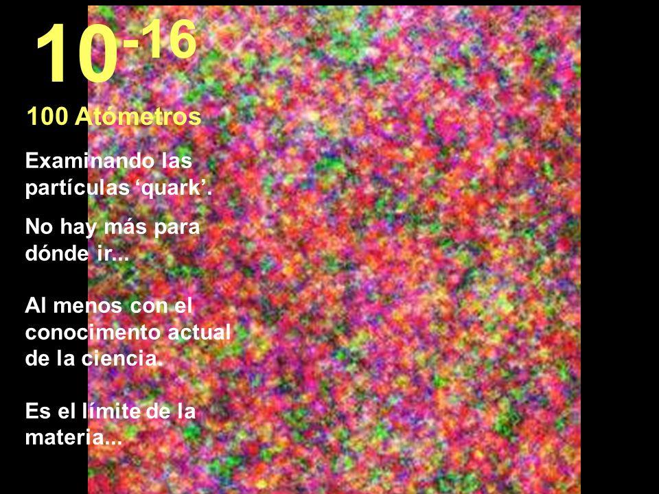 10-16 100 Atómetros Examinando las partículas 'quark'.