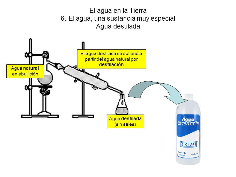 El agua en la Tierra 6.-El agua, una sustancia muy especial Agua destilada