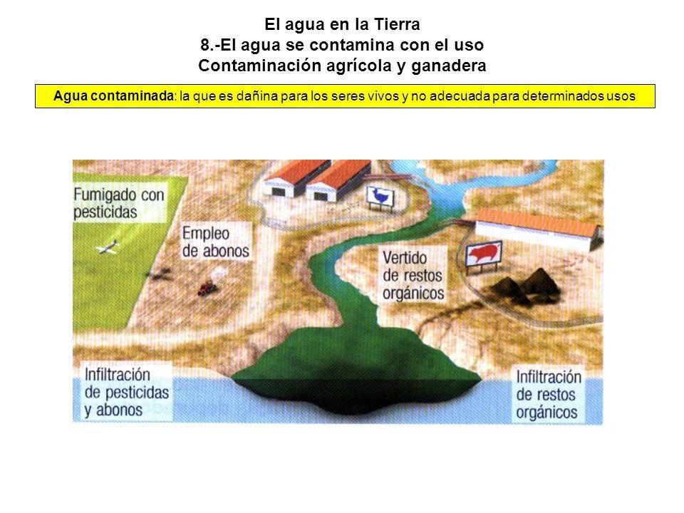 El agua en la Tierra 8.-El agua se contamina con el uso Contaminación agrícola y ganadera