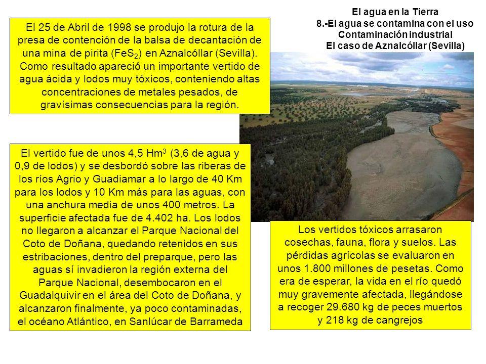 El agua en la Tierra 8.-El agua se contamina con el uso Contaminación industrial El caso de Aznalcóllar (Sevilla)