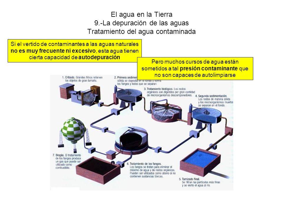 El agua en la Tierra 9.-La depuración de las aguas Tratamiento del agua contaminada