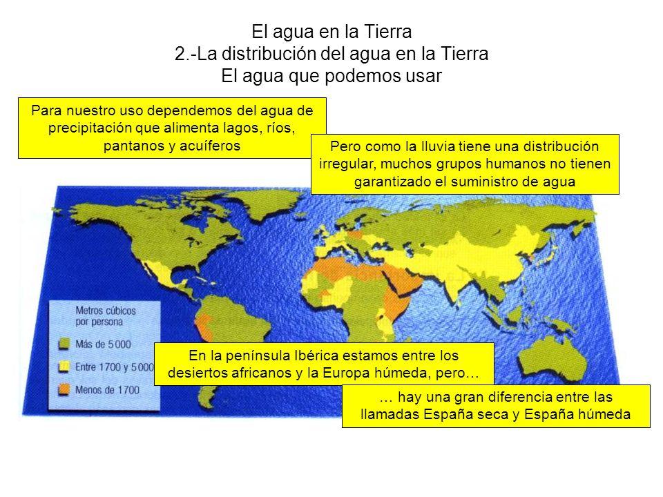 El agua en la Tierra 2.-La distribución del agua en la Tierra El agua que podemos usar