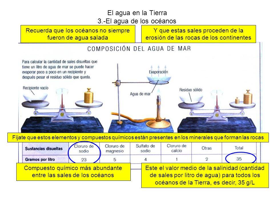 El agua en la Tierra 3.-El agua de los océanos