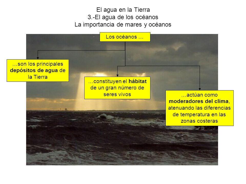 El agua en la Tierra 3.-El agua de los océanos La importancia de mares y océanos