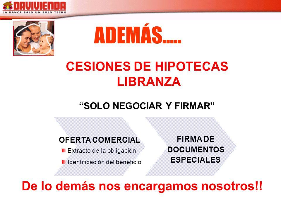ADEMÁS..... CESIONES DE HIPOTECAS LIBRANZA