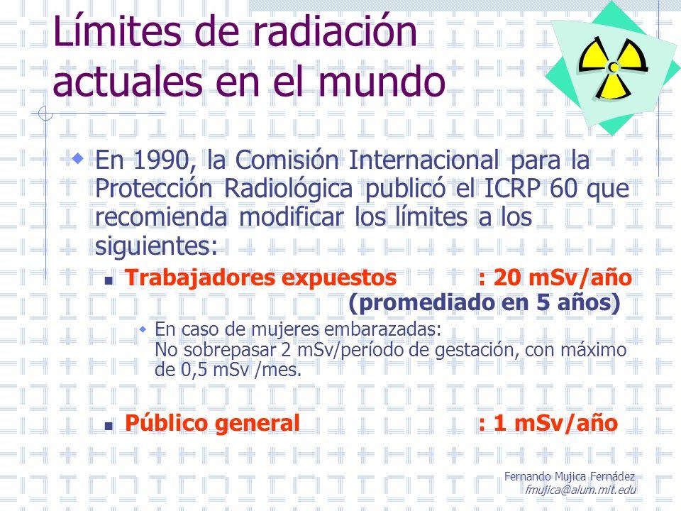Límites de radiación actuales en el mundo