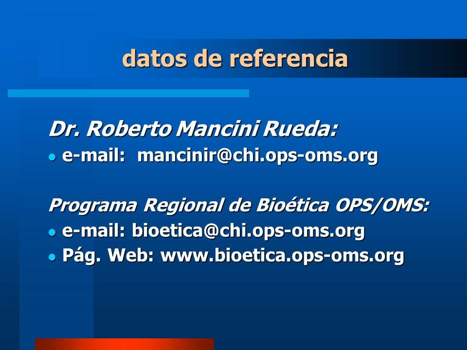 datos de referencia Dr. Roberto Mancini Rueda: