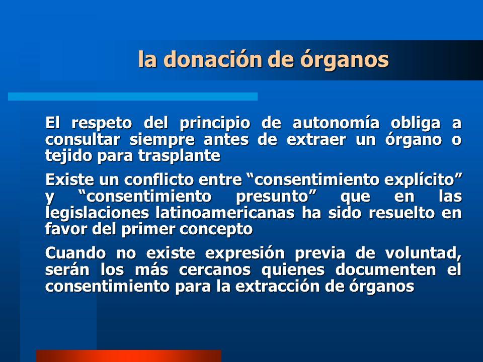 la donación de órganos El respeto del principio de autonomía obliga a consultar siempre antes de extraer un órgano o tejido para trasplante.