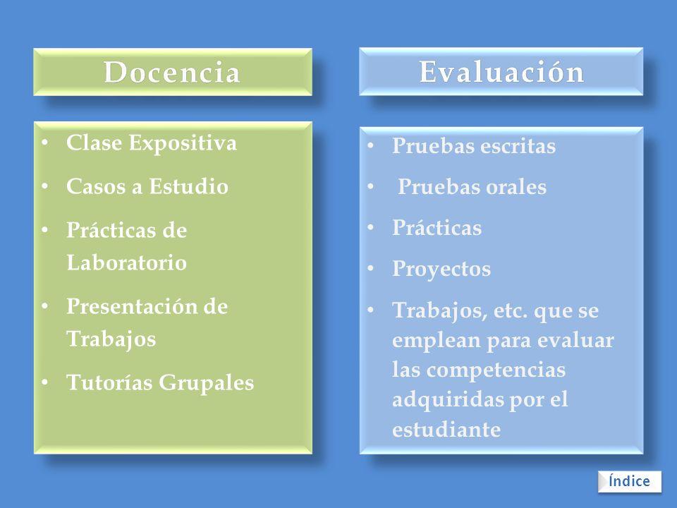 Docencia Evaluación Clase Expositiva Pruebas escritas Casos a Estudio