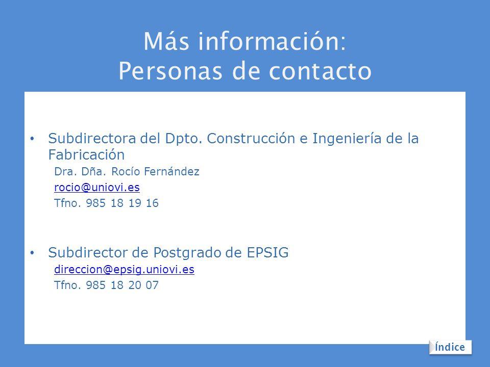 Más información: Personas de contacto